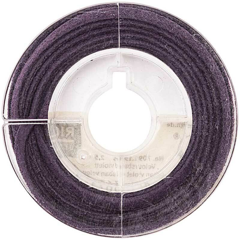 Veloursband plat - 2 mm, violet