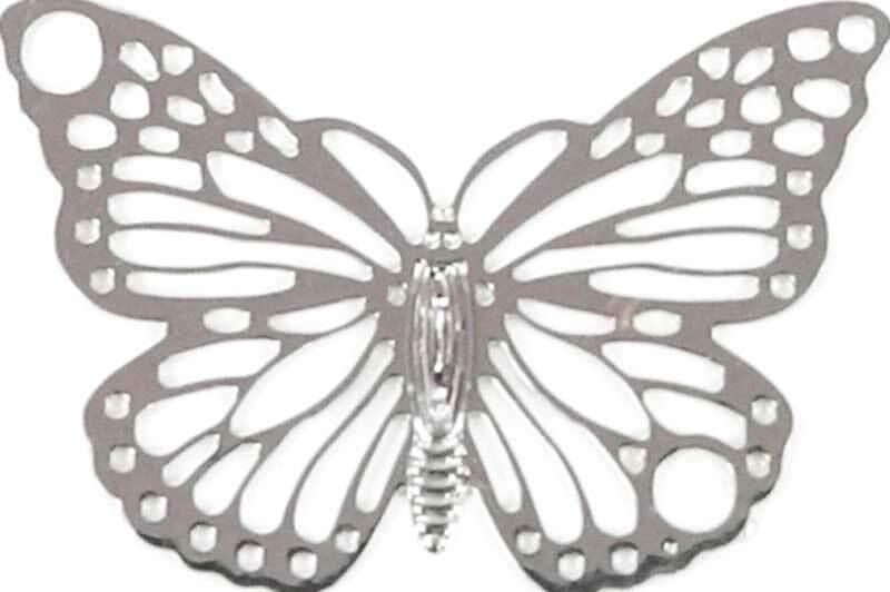 Hanger vlinder - 19 x 13 mm, zilver
