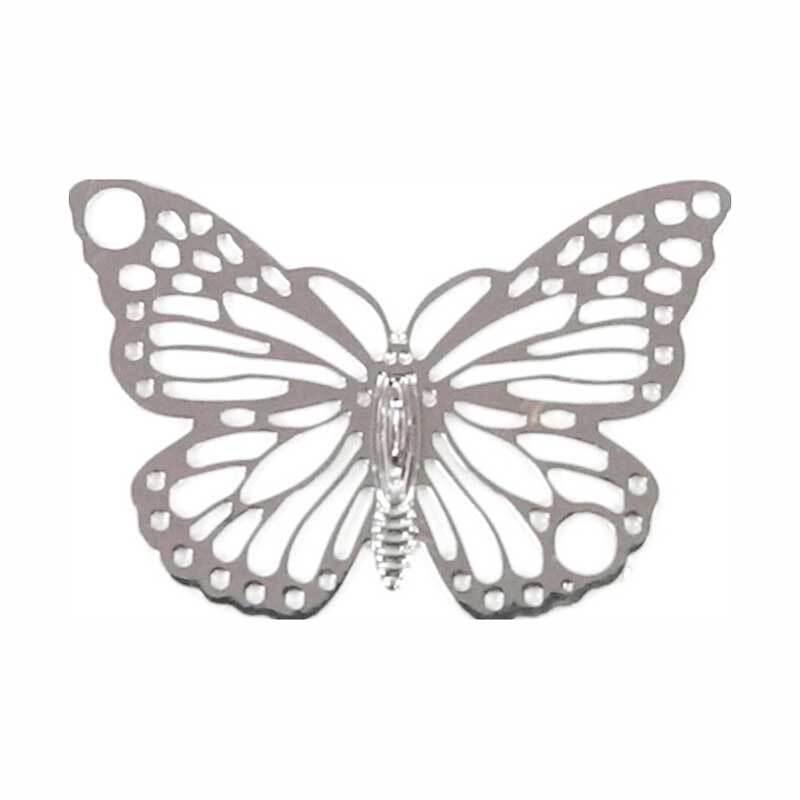 Anhänger Schmetterling - 19 x 13 mm, silberfarbig