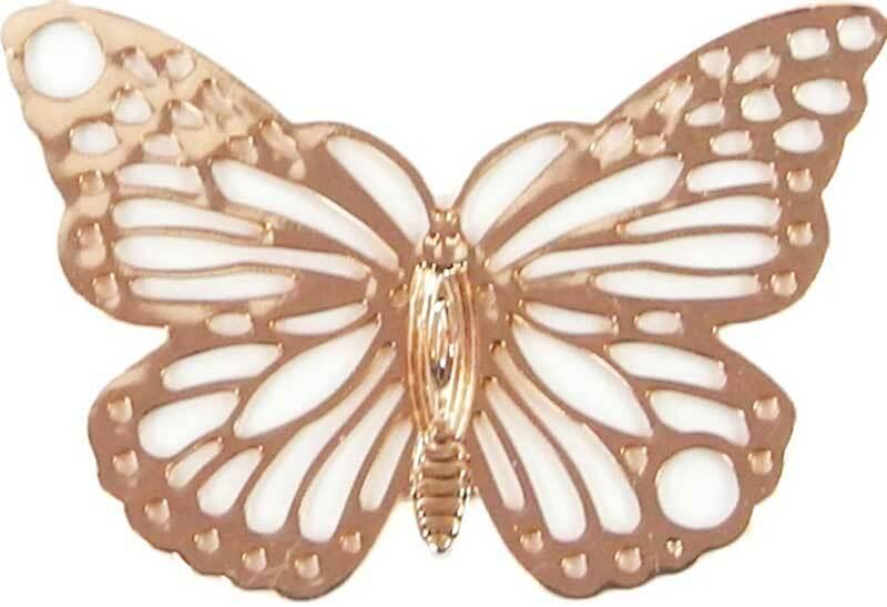 Pendentif papillon - 19 x 13 mm, rose doré