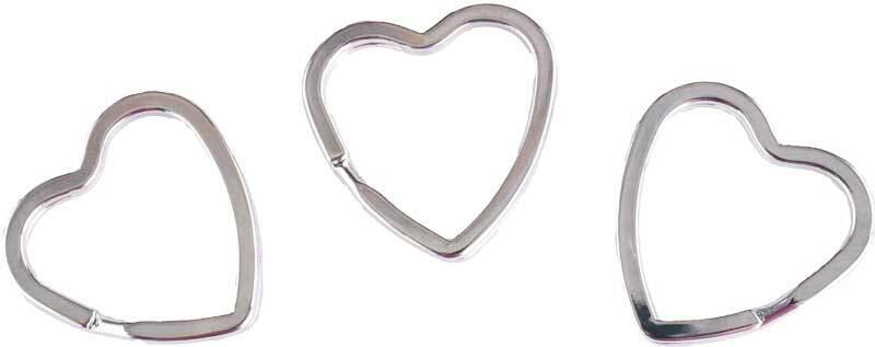 Schlüsselringe Herz - 10er Pkg., Ø 35 mm, silberfa