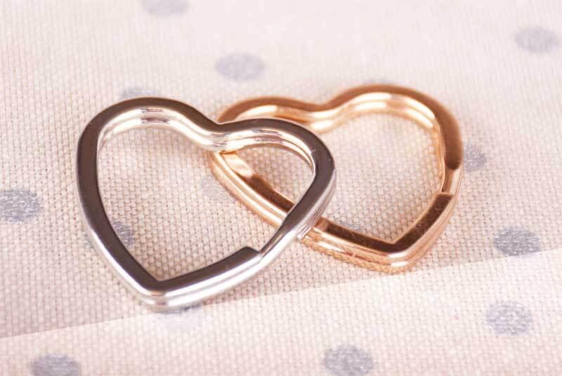 Sleutelringen hart - 10 st./pak, Ø 35 mm, goudkleu