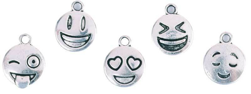 Hanger-set Smiley - 10 stuks, zilverkleurig