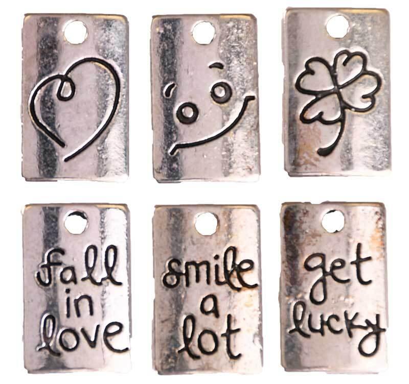 Set pendentifs Smiley - 10 pces, argent