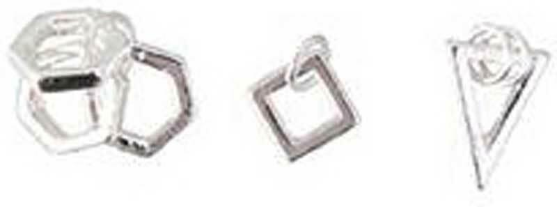 Set pendentifs carrés - 3 pces, argent