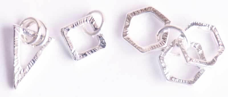 Hanger-set hoekig - 3 stuks, zilver