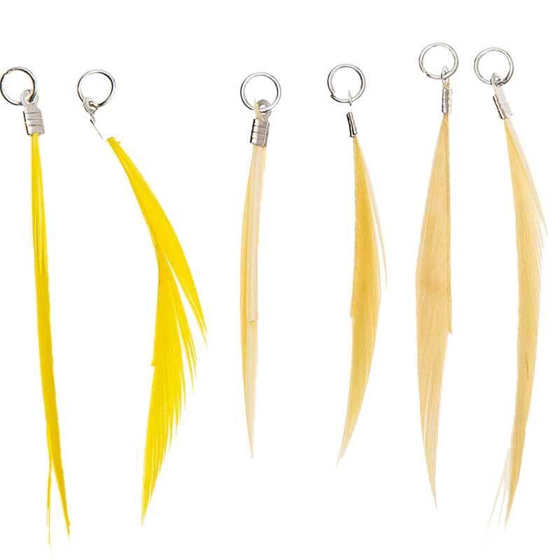 Hangerset veren - 6 stuks, geel mix