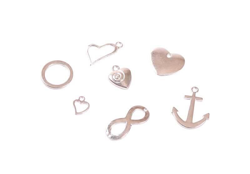 Hanger-set liefde - ca. 70 stuks, zilverkleurig