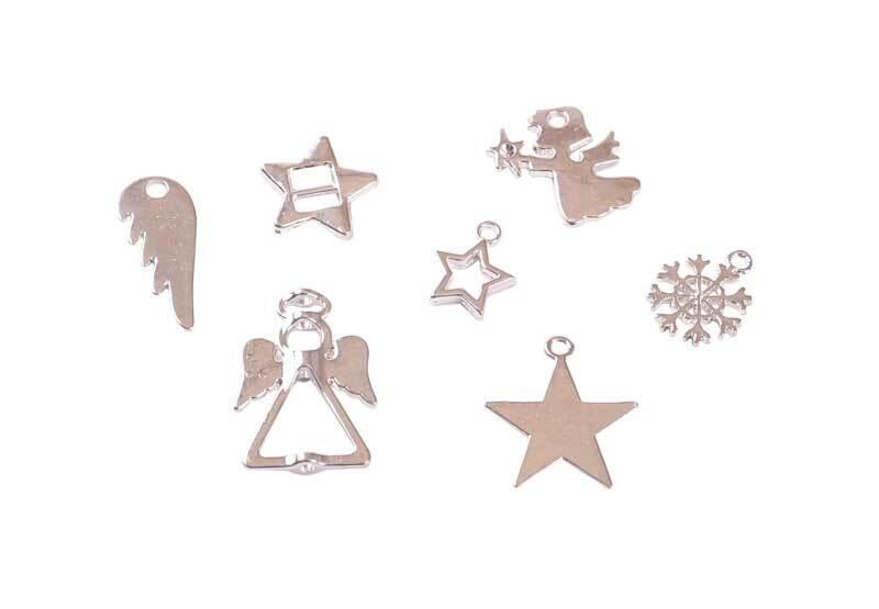 Hanger-set Kerstmis - ca. 42 stuks, zilverkleurig
