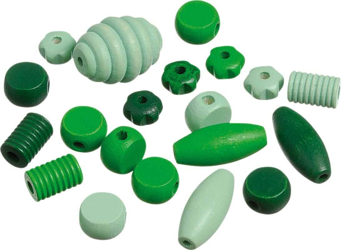 Holzperlen Formen - 20 Stk., grün