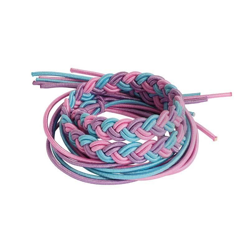 Elastisch koord mix - Ø 2 mm, roze-lila-blauw