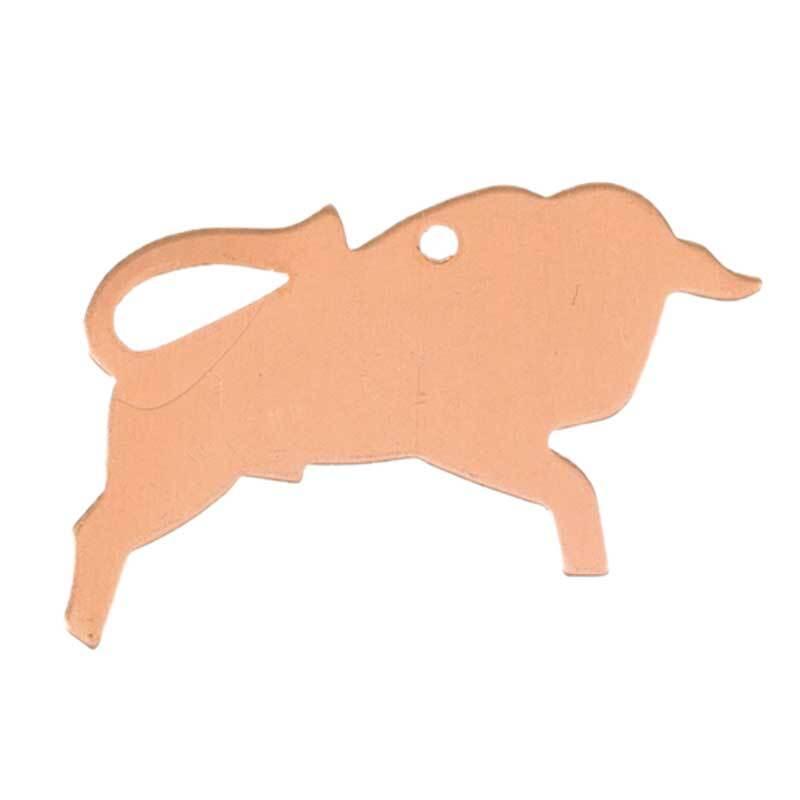 Kupferanhänger Stier - 1 Bohrung, 20 x 36 mm