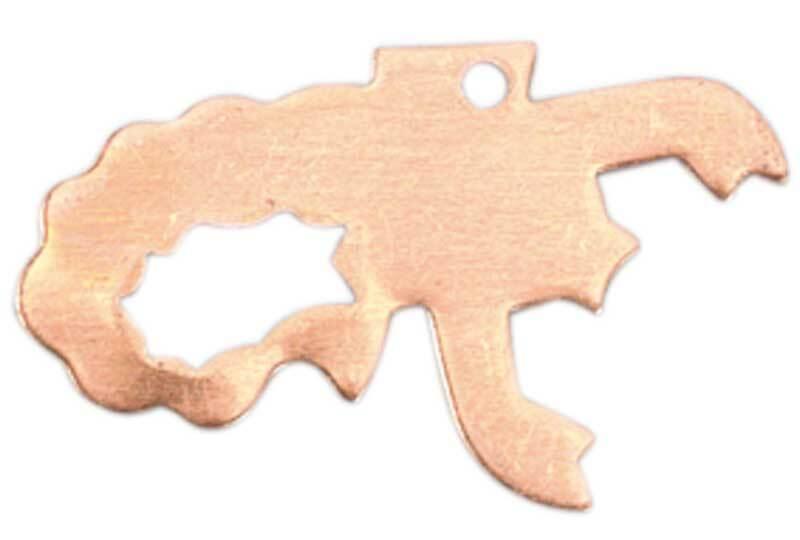Koperen hanger - scorpioen, 1 gat, 19 x 31 mm