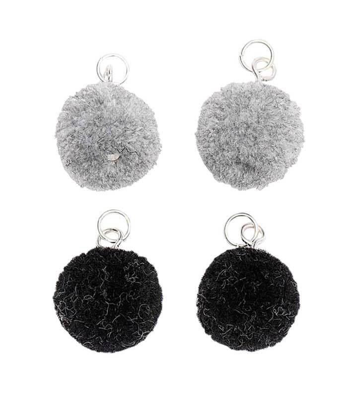 Hangerset pompons - 4 stuks, grijs-zwart