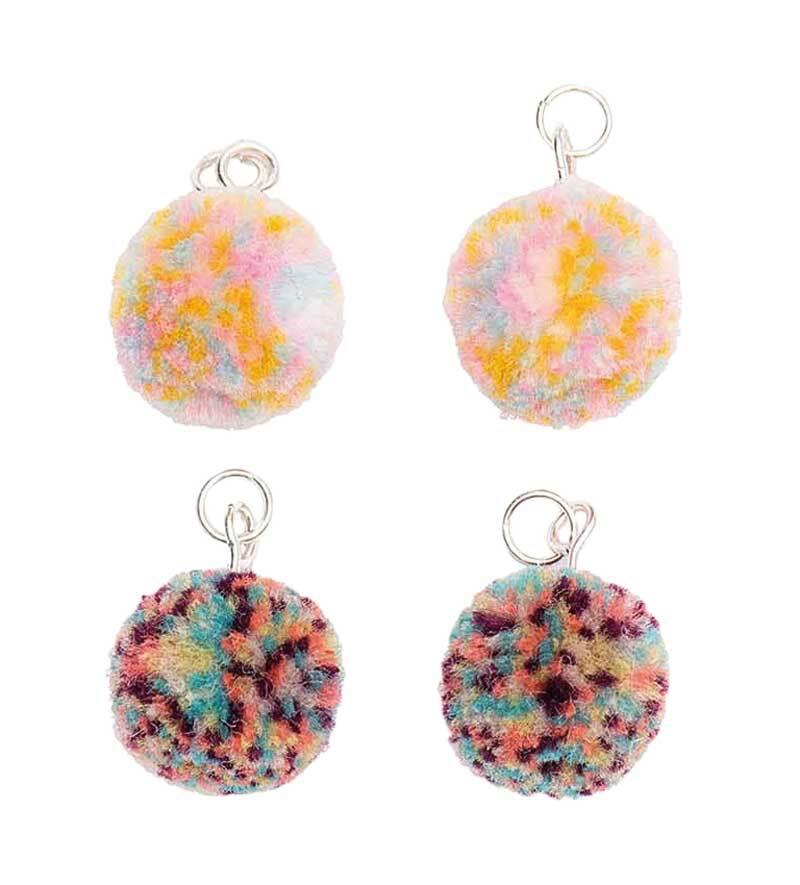 Hangerset pompons - 4 stuks, multicolor