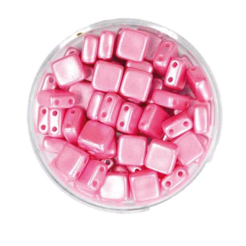 "Glasperlen ""Square"" - 6 mm, rosa"