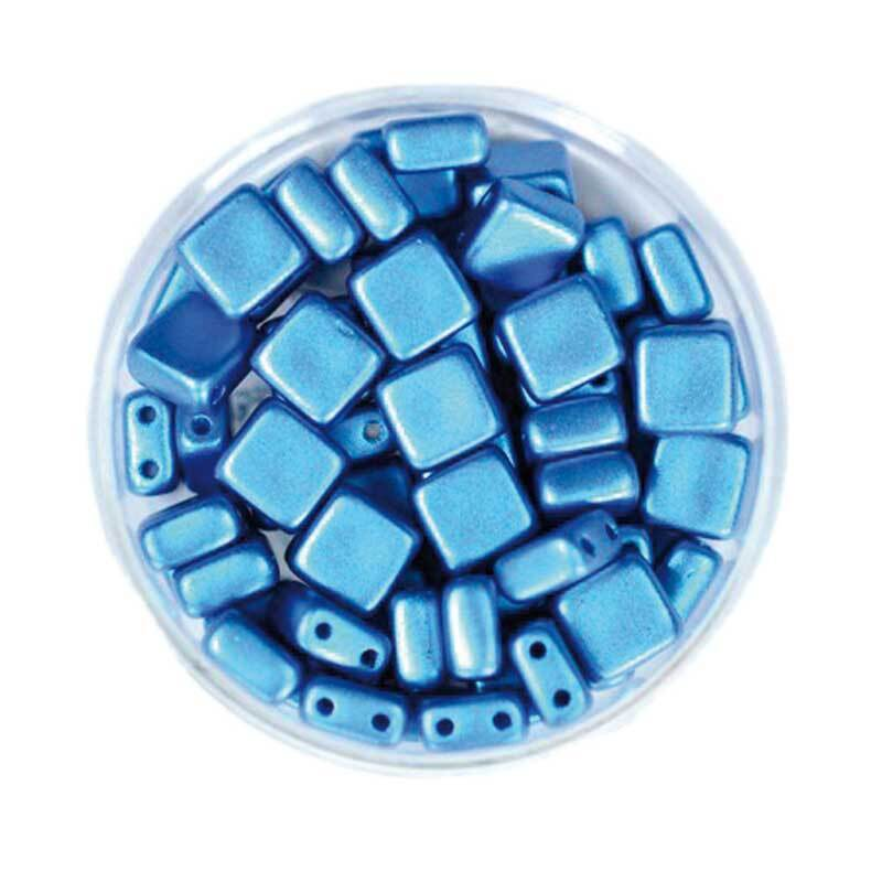 "Glasperlen ""Square"" - 6 mm, blau"