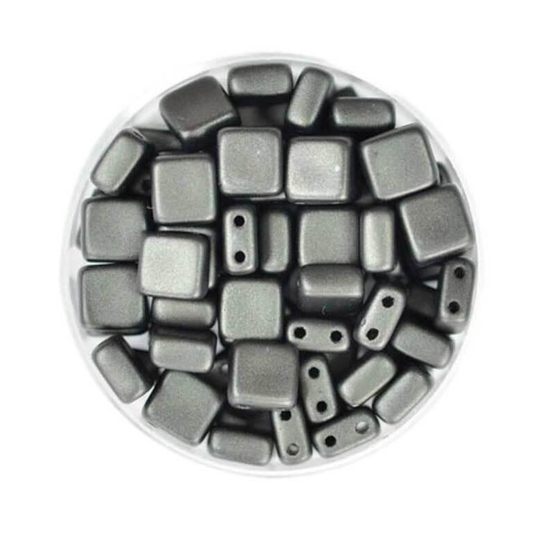 """Glasperlen """"Square"""" - 6 mm, schwarz"""