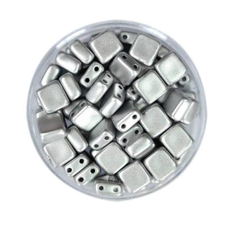 "Glazen kralen ""Square"" - 6 mm, zilver"