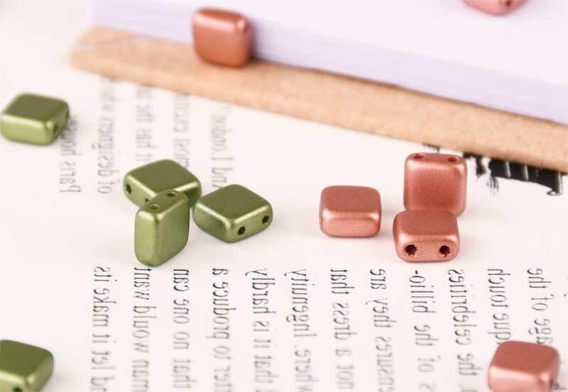 """Glazen kralen """"Square"""" - 6 mm, koper"""