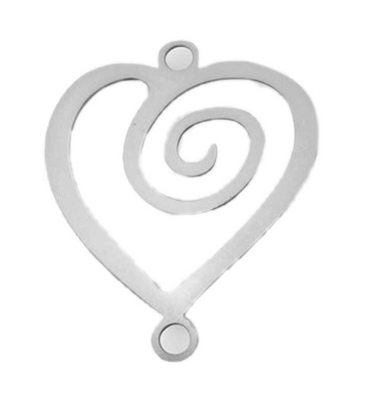 Hanger hart - 22 mm, zilverkleurig