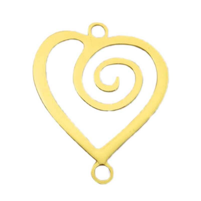 Hanger hart - 22 mm, goudkleurig