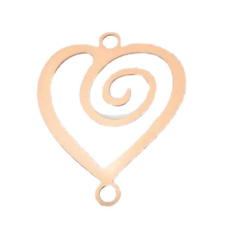 Pendentif cœur - 22 mm, coloris rose-doré