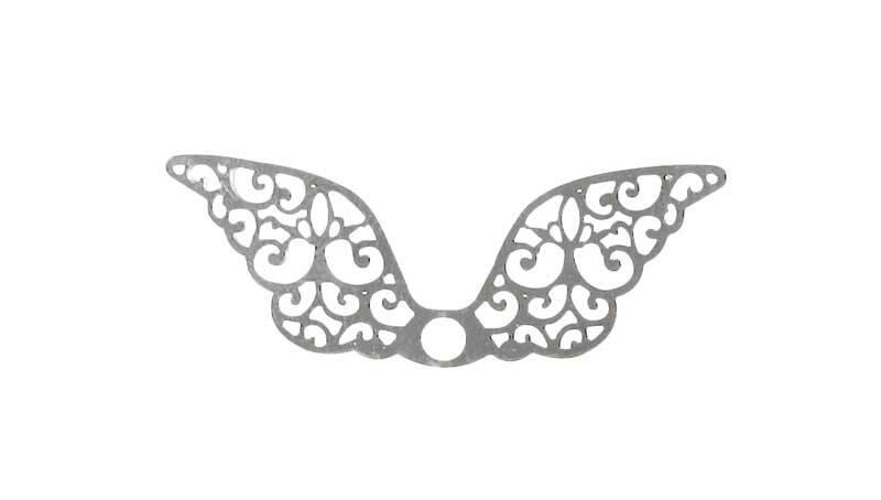 Pendentif aile - 40 x 13 mm, coloris argent