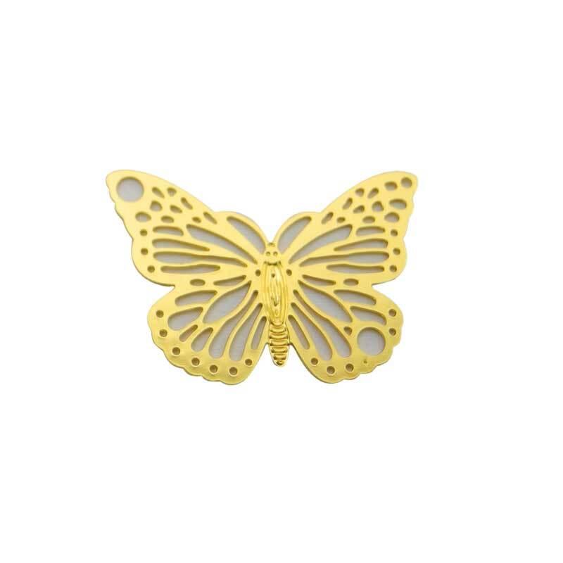 Hanger vlinder - 19 x 13 mm, goudkleurig