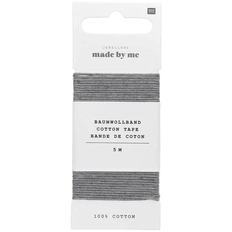 Baumwollband Ø 1 mm - 5 m, grau