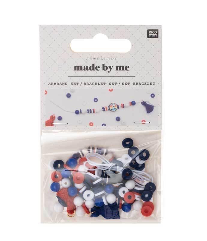 Set pour bracelet, bleu-rouge