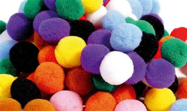 Pompons - 100 pces, Ø 13 mm, couleurs assorties