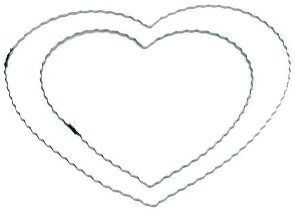 Moules en fil de fer ondulés - cœur, 20 cm