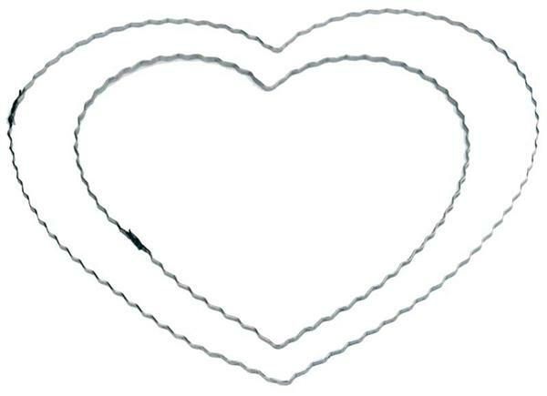Draadvormen gegolfd - hart, 15 cm