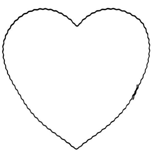Anneau en fil de fer ondulé - cœur, 20 cm
