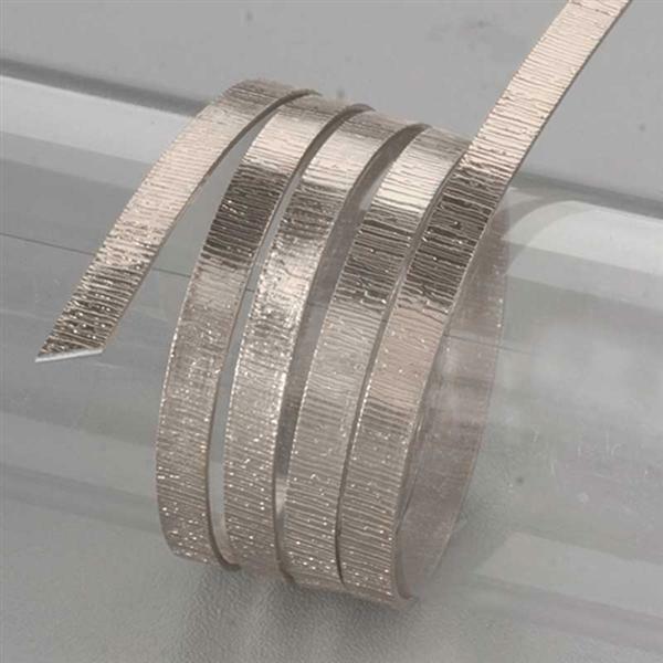 Aluminiumdraad plat met structuur - 2 m, 5 mm, zil