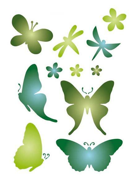 Schablone - A5, Schmetterling und Blumen
