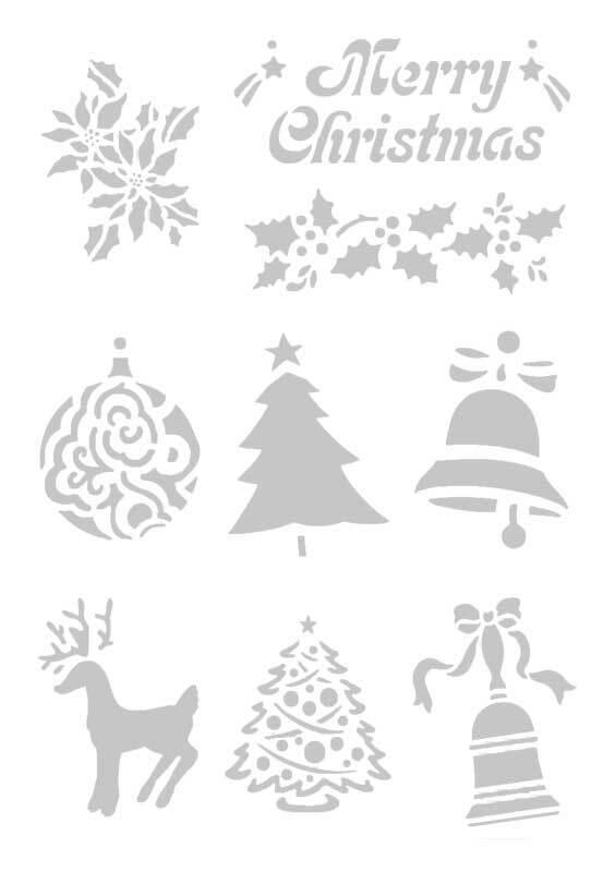 Schablone - A5, selbstklebend, Weihnachten