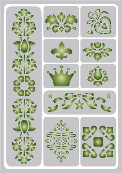 Schablone - A5, selbstklebend, Ornamente