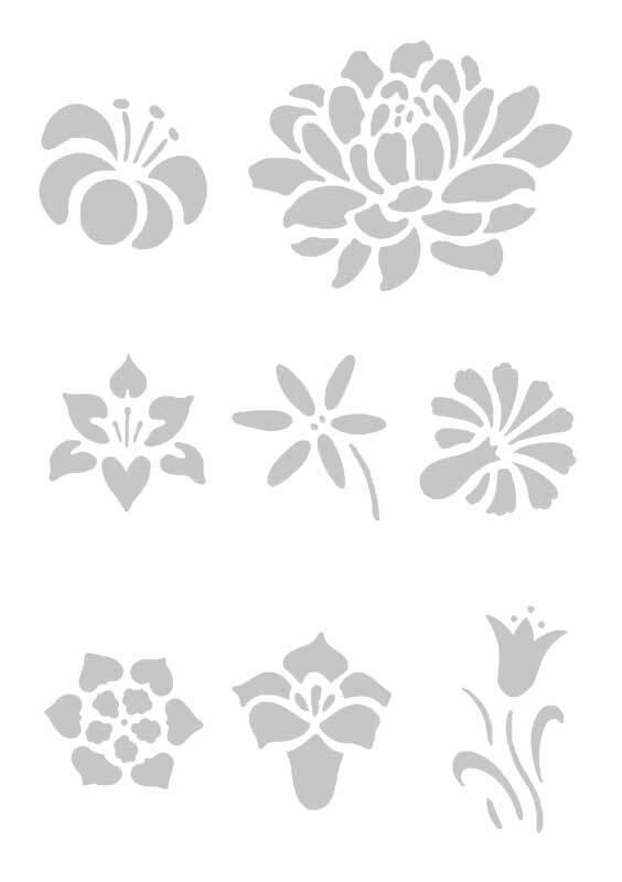 Sjabloon - A5, zelfklevend, bloemen