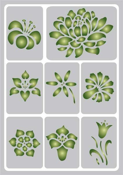 Schablone - A5, selbstklebend, Blumen