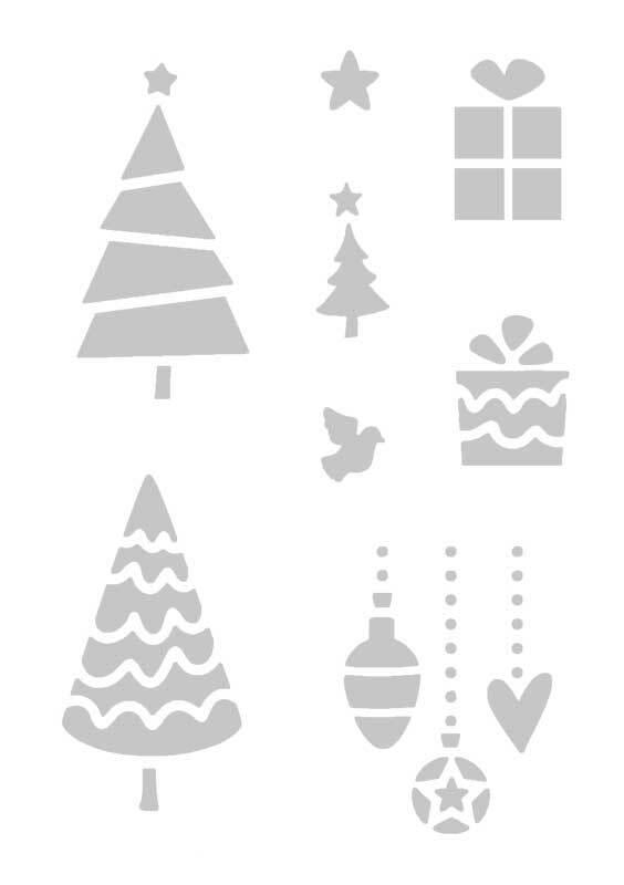 Schablone - A5, selbstklebend, Weihnachten 1