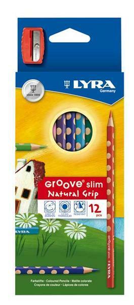 Lyra Groove slim kleurpotloden, 12 stuks + puntens