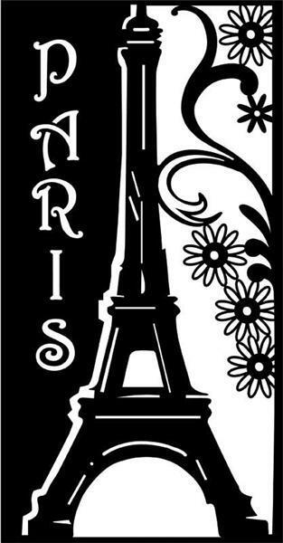 Silhouet sjabloon - 22 x 37 cm, Romantic Paris