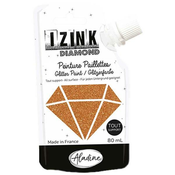 IZINK Diamond glitterverf - 80 ml, koper
