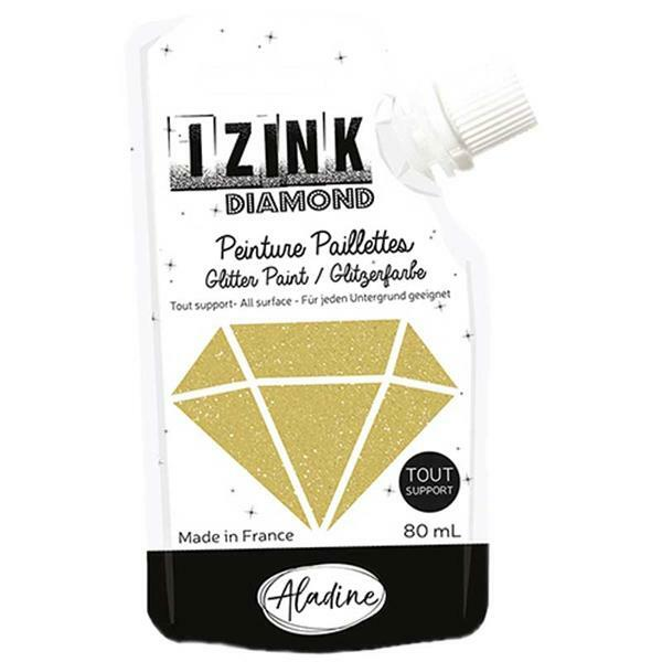IZINK Diamond glitterverf - 80 ml, goud