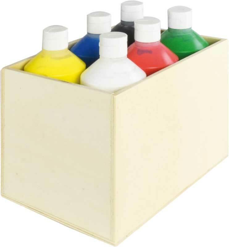 Aduis Sparpaket - 6 Fingerfarben mit Holzbox