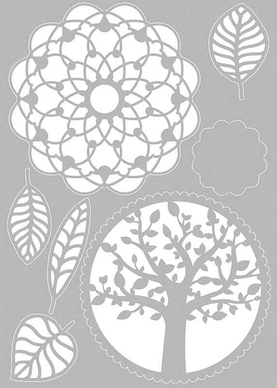 Schablone - A4, Baum-Blätter-Mandala