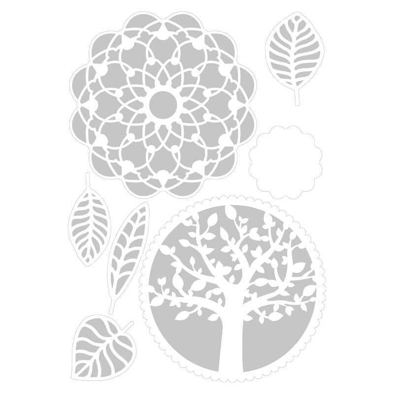 Sjabloon - A4, boom-bladeren-mandala