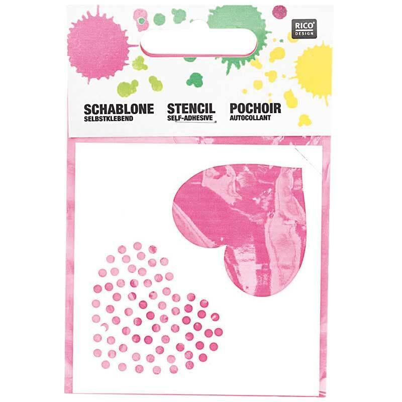Pochoirs - 7,5 x 7,5 cm, autocollants, cœurs